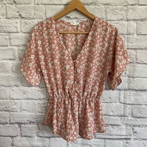 SIENNA SKY Floral Ditsy Print Top Blouse Dusty Ros